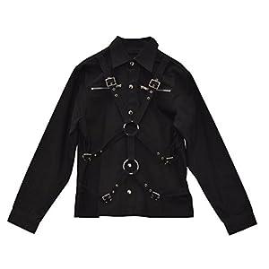 Camisa de manga larga celibato 14011705.008L -Men gótica de Steampunk con cremalleras y hebillas - Gr. L delgado, negro