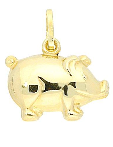 MyGold Glücksschwein Anhänger (Ohne Kette) Gelbgold 333 Gold (8 Karat) Schwein Schweinchen 17mm x 16mm Dreidimensional Goldanhänger Kettenanhänger Geschenke Für Frauen Goldschwein Piggy - Schwein-anhänger-halskette