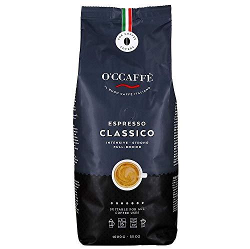 O'ccaffè Espresso Bar   starker, intensiver Kaffee mit feiner Haselnuss Note   Barista-Qualität aus italienischem Familienbetrieb   1kg ganze Bohnen