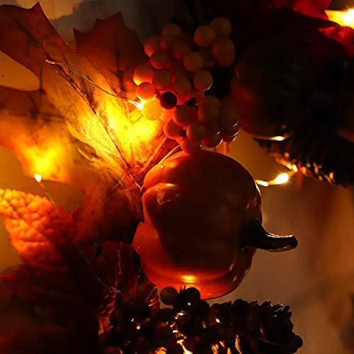 belupai K¨¹nstliche Thanksgiving Herbst Haust¨¹r Kranz Handwerk Gr¨¹n Blume Bl?tter Garland Innenwanddekor Ornamente F¨¹r Herbst (Orange Batteriebetrieben) -