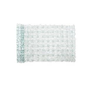 Brandseller - Tappetino per vasca da bagno o per doccia in effetto pietra, colore Bianco, Nero, Grigio, trasparente e melange 53x 53cm e 70x 36cm, Vinile, trasparente grigio, Badewanne: ca. 70x35 cm