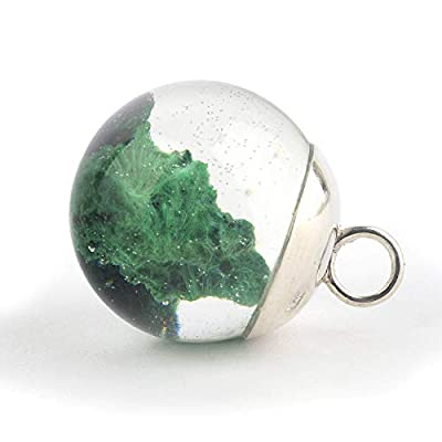 Pendentif en forme de boule avec le minéral Malachite en Résine époxy et Argent 925 massif