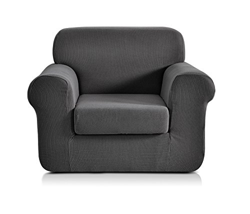 Chun yi 2-pezzi copridivano copripoltrona jacquard monocromatico in tessuto elastico (sedia, grigio)