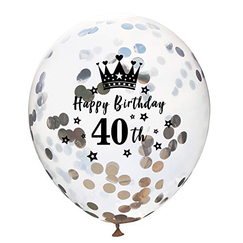 iß Ballons Konfetti Luftballons Kronenmuster Schriftzug Latex Ballons für Geburtstagsfeier Hochzeit Party Dekorationen Size 12 Zoll (40th) ()