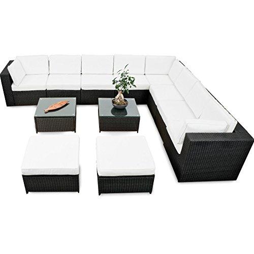 LD Polyrattan Gartenmöbel Lounge Möbel Sitzgruppe Lounge Hocker Tisch Sessel Sofa