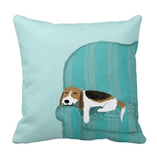 Aidoue Happy Couch Dog – Cute Beagle Relaxing Pillowcase Decorate for a Sofa Pillow Cover Cushion 18″