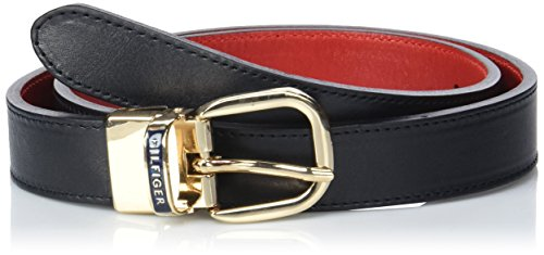Tommy Hilfiger New Reversible Belt 2.5, Cinturón para Mujer, Azul Navy-Tommy Red 901, 90