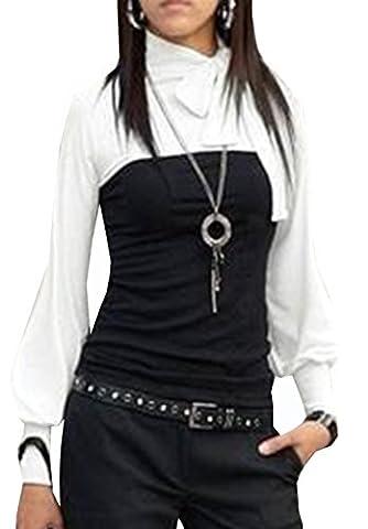 Kd. 120 Japan Style von Mississhop BOHO Style Bluse 2 in 1 Optik Tunika Longshirt Schwarz-Weiß S