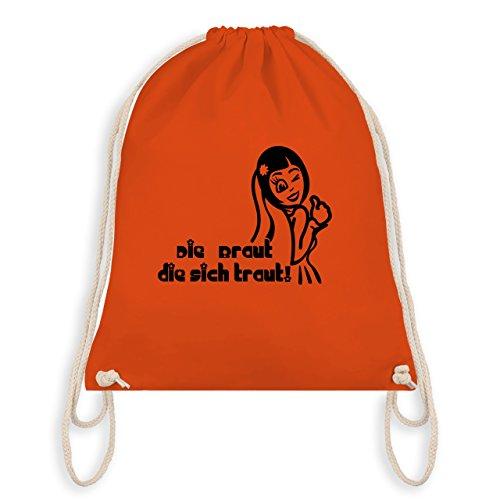 JGA Junggesellinnenabschied - Die Braut die sich traut - Turnbeutel I Gym Bag Orange