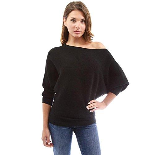 Damen Mode Blusen Longra Schulter Fledermaus Langarmshirt Bluse Bluseshirt Frauen Langarm Lose Bluse Hemd Shirt Oversize Sweatshirt Oberteil Tops (Black, M)