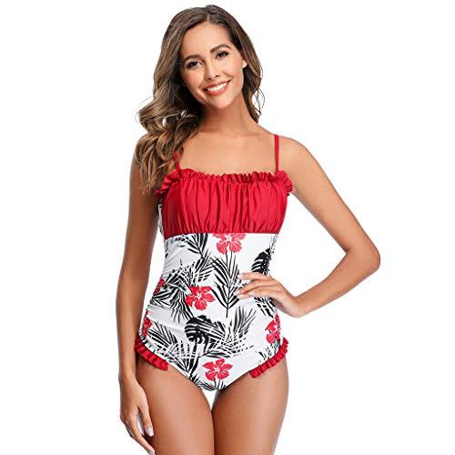 TwoCC Frauen-Badeanzüge,Tropische Badeanzüge Mit Bauchregulierung Und Rüschen Drücken Monokinis-Badebekleidung Hoch(Rot,XL) (rot, XL)