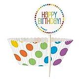 Unique Party - 47120 - Kit de Caissettes pour Cupcake et Décorations de Gâteau Fête Arc-en-Ciel pour 24 personnes