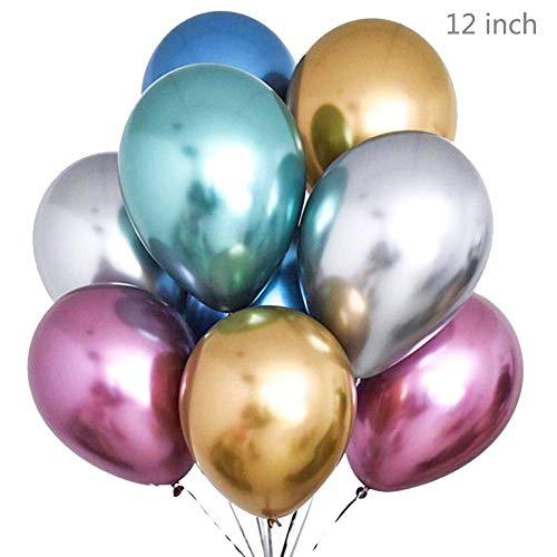 allons Metallic Metallische Partyballons Latexballons aus glänzendem Metallperlen 12'' Perlige Chromlegierung Aufblasbare Luftballons für Geburtstage, Brautdusche ()