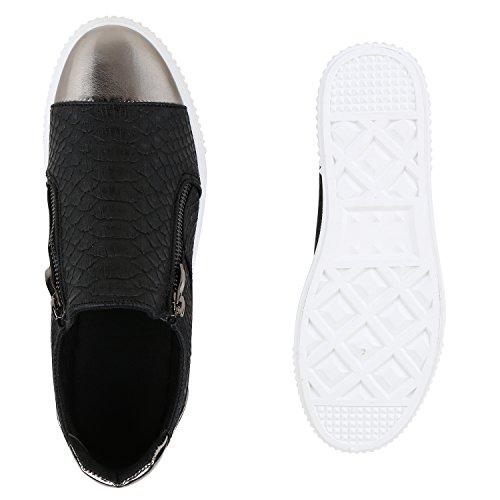 Damen Sneakers Metallic Cap Sportschuhe Zipper Mini-Keilabsatz Schwarz