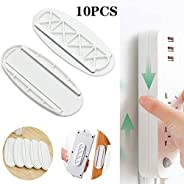 10 Pairs Self Adhesive Power Strip Wall Mount Fixator, Power Strip Desk Wall Mount, Desk Cable Organizer for O