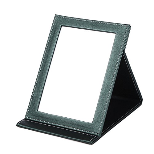 rnow-deluxe-pu-leather-desktop-large-makeup-cosmetics-personal-beauty-folding-mirrors-green