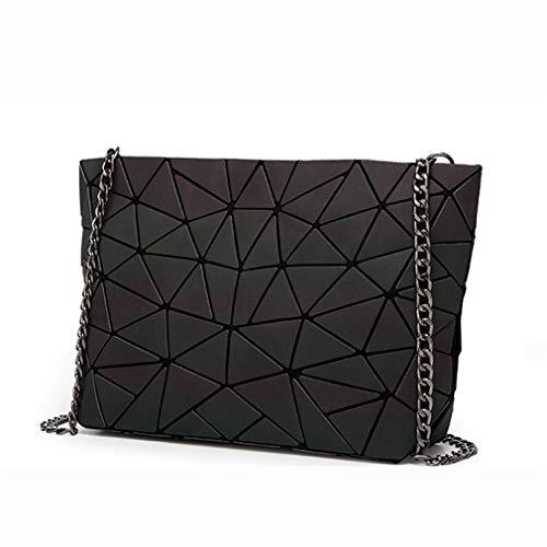 KCNXCE Frauen Kette Umhängetasche Leuchtende Sac Bag Geometrie Messenger Bags Plain Folding Crossbody Taschen Luminous A