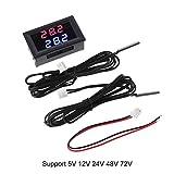 Doppio display 5 V-80 V DC termometro con 2 NTC sensori di temperatura impermeabili 12 V 24 V 72 V per auto e moto