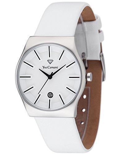 Yves Camani Louanne - Reloj de cuarzo para mujeres, con correa de cuero de color blanco, esfera blanca
