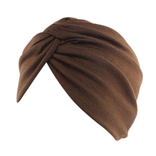 Mützen Transer® Damen Baumwolle Fashion Krebs Chemo Hygiene Alopezie Make-up Hut Falten Stretch Turban Einfarbig Mützen (Kaffee) (Falten Mütze)
