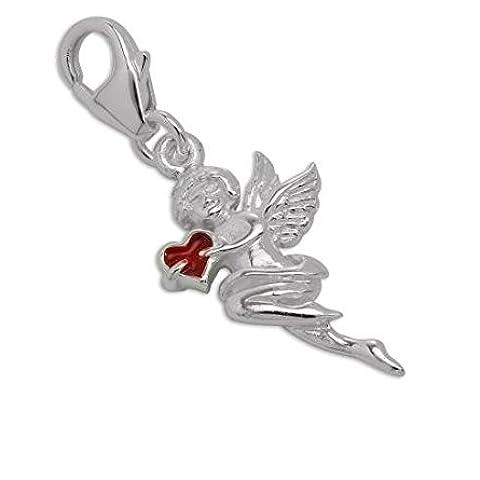 Ciondolo in argento sterling con Cupido e cuore color rosso, regalo romantico - Cupido Amore Charm