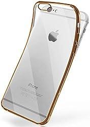 MoEx® Transparente Silikonhülle im Chrome-Style kompatibel mit iPhone 6S / iPhone 6   Flexibler Schutz mit Hochglanz Metallic Rahmen, Gold