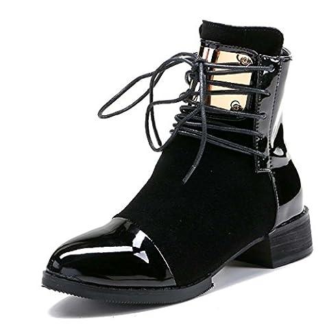 Chaud Martin Boot Pointé Toe Bottes En Cuir Lace Up Color Match Bottes Courtes Automne / Hiver Bottes À Talons Bas En Daim Women Girl Casual Shoes ( Color : Black , Size : 40 )