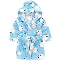 Peignoir enfant à capuche en peluche doux peignoir Cartoon Peignoir Peignoir Bleu chaud de Chèvre