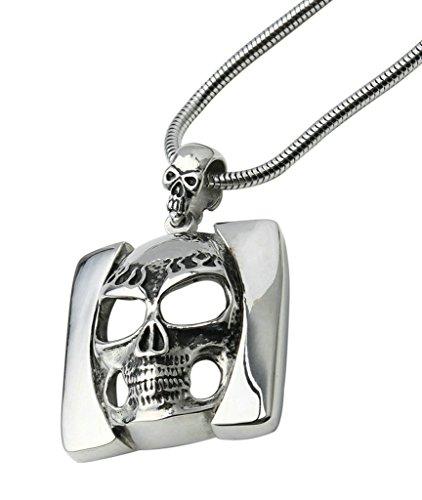Beydodo Edelstahl Halsketten Für Herren (Anhänger Halskette), Hohl Quadratische Auges Schädel 4*4 cm Silber (Boot-kette Schädel)