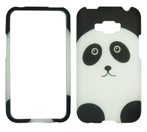Virgin Mobile Lg (Panda schwarz weiß silber LG Optimus Elite LS696/Optimus Quest L46C (Sprint StraightTalk/Net 10/Virgin Mobile) Schutzhülle Hard Case Snap On Cover Gummierte Matte Oberfläche Harte Muscheln)