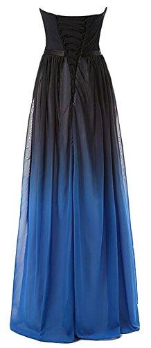 Eudolah Maxi Robe de soiree en moussline effet degrade femme mariage ceremonie Noir Bleu-H