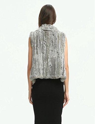 Ferand - Gilet Giacca Senza Maniche Elegante in Vera Pelliccia di Coniglio Per Inverno Con Design a Cascata - Donna Grigio