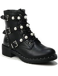 HERIXO Damen Schuhe Stiefeletten Schnallen Verzierung Perlen Nieten Flache  Reissverschluss halbhoche Schnürboots… b83c6d202e