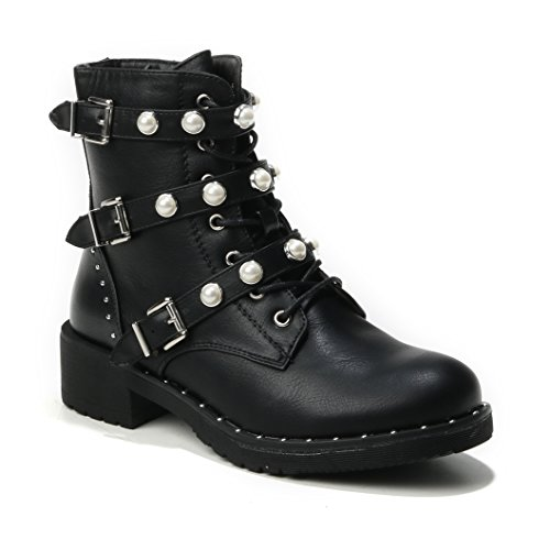 HERIXO Damen Schuhe Stiefeletten Schnallen Verzierung Perlen Nieten Flache Reissverschluss halbhoche Schnürboots Schnürer Military Boots(41,Black)