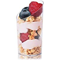 Juvale Mini Dessert Appetizer Cups (50-Pack) - Elegant Clear Slanted Plastic Tasting Cups - 2.5 Oz.