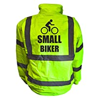 Small Biker Kids Hi Vis Yellow Bomber Jacket, Reflective High Visibility Safety Childs Coat, By Brook Hi Vis