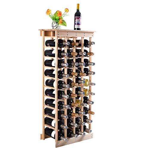 DREAMADE Weinregal Holz, Flaschenregal Kiefer, Weinschrank mit Ablage, Flaschenablage für 44 Flaschen,Weinständer naturfarbe, Weinflaschenhalter (Begünstigt Wein Flasche)