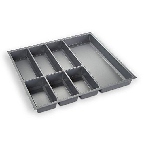 ORGA-BOX® III Besteckeinsatz Besteckkasten silbergrau für 60er Schublade z.B. Nobilia ab 2013 (473,5 x 494 mm)