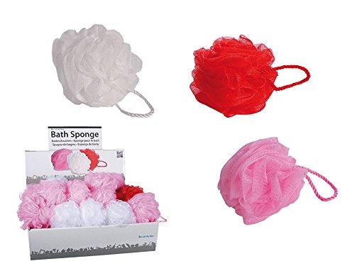 6 Stück Badeknäuel 12cm Badeschwämme, je 2 in Pink, Rot und Weiss
