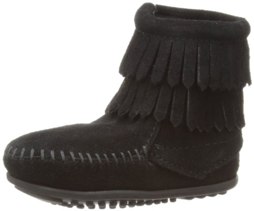 Minnetonka Double Fringe Side Zip, Unisex-Kinder Stiefel, Schwarz (Black), 34/35 EU (Black Stiefel Side Zip)
