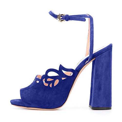 Damen Peep Toe Samt Sandalen Blockabsatz High-Heels Slingback Blau