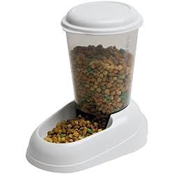 Feplast 71970099W1 Dispensador de Comida para Perros y Gatos Zenith Comedero para Animales, Gran Depósito de Plástico Trasparente, Base Antideslizante, 29.2 x 20.2 x 28.8 Cm - 3 L Blanco