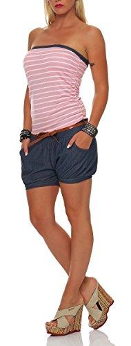 malito kurzer Marine Jumpsuit im Jeans-Look 9646 Damen One Size Rosa