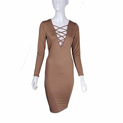Langaermelig V-Ausschnitt Paket Hueftgurte kreuzen Frauen laessig figurbetontes Kleid Khaki