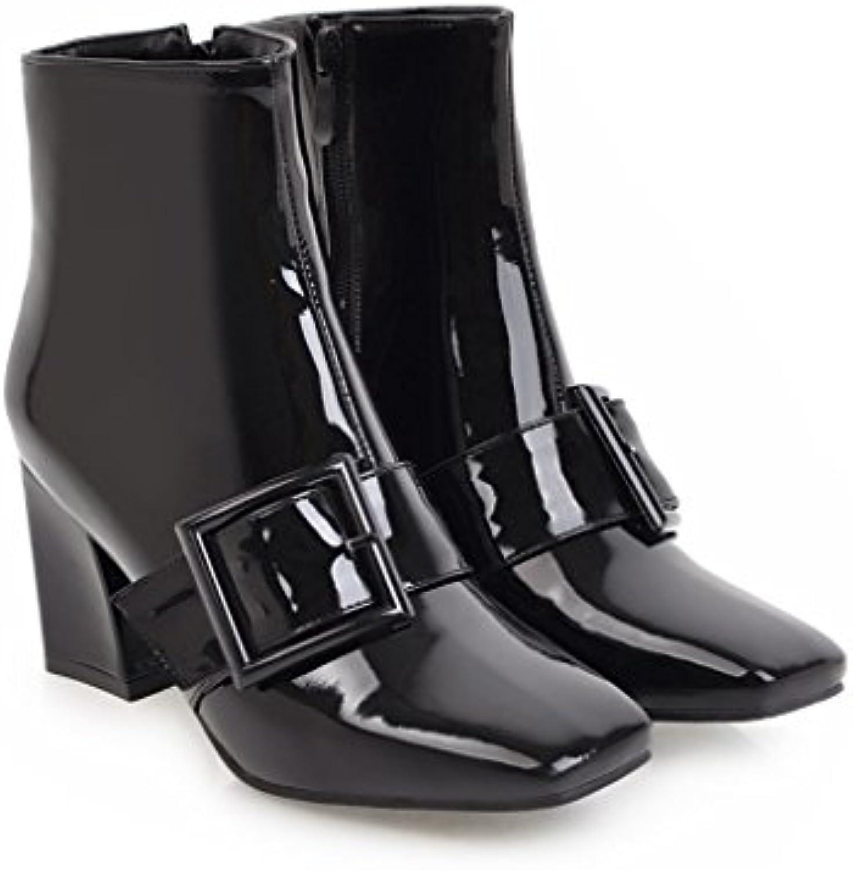 CXQ-Talones QIN&X La Mujer de Cabeza Cuadrada de Bloque Corto Botas Zapatos de Tobillo