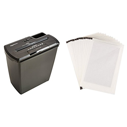AmazonBasics Aktenvernichter, 8 Blatt, Streifenschnitt, CD-Schredder und Schmiermittelblätter, 12 Stk. (Amazon Basic 12 Blatt Schredder)