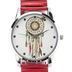 Michael John Damen-Armbanduhr Stahl und Rot Ethnic Pampa