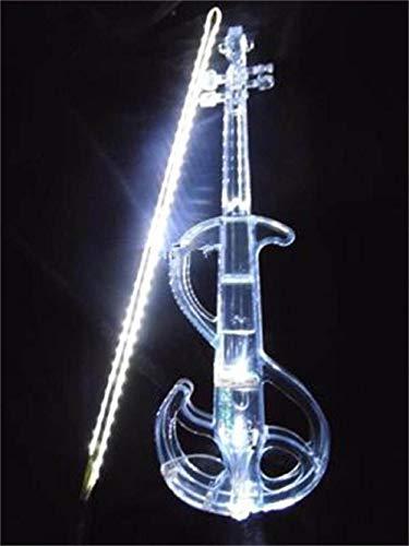 XTQDM Geige Kristall Acryl Violine Weiß S Led Elektronische Violine Elektro-akustische Violine 4/4, Weiß