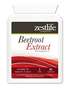 Zestlife BEETROOT EXTRACT SUPPLEMENT (High Strength) 2125mg 60 capsules | May help to substantially lower blood pressure | The iron contained in beetroot is in an organic form and will not cause constipation. by Zestlife