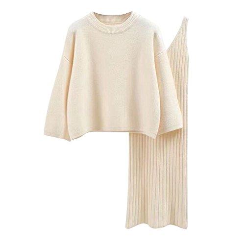semen Damen Strick Kleid Set Oberteil Pullover Frauen Clubwear Blues und Rock Bodycon 3 teiliges Set Minikleid aus Strick Pullover dress...